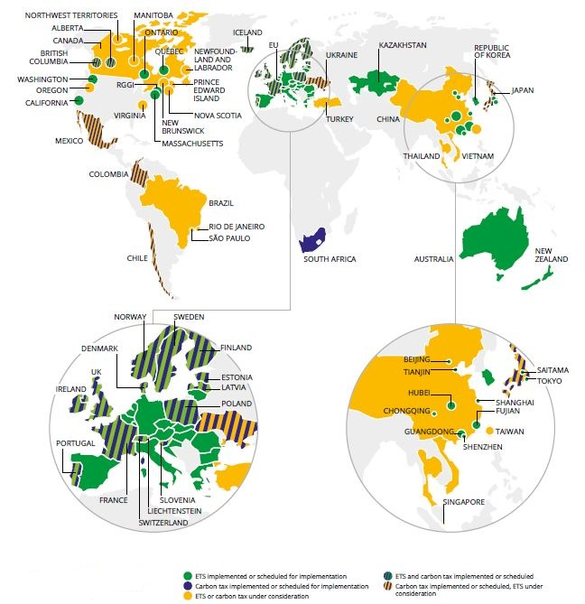 Carbon price - map - World Bank