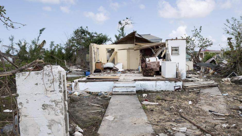 Codrington town in Barbuda after last October hurricanes